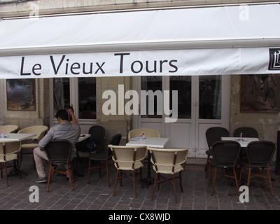 Le Vieux Tours bar,Place Plumereau in old Tours,Indre-et-Loire, France - Stock Photo