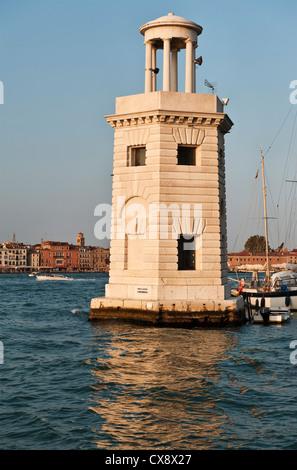 Venice, Italy. The lighthouse on the island of San Giorgio Maggiore - Stock Photo