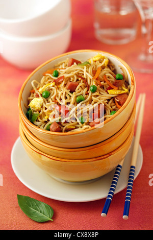Hot Chinese noodles. Recipe available. - Stock Photo