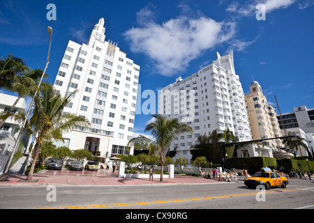 Row of hotel buildings in the Art Deco District, South Beach, Miami Beach, Florida, USA. - Stock Photo