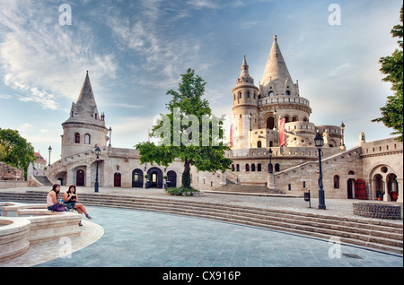 The Halászbástya or Fisherman's Bastion on the Castle hill in Budapest, is a terrace in neo-Gothic and neo-Romanesque - Stock Photo