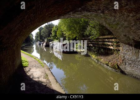 Bridge, 55 at Hatton, on, the, Grand Union Canal, Warwickshire, England, UK, Narrowboats, Narrowboat, boat, boats, - Stock Photo