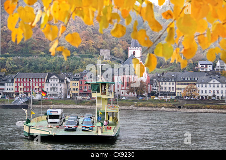 Car ferry across the Rhine River between St. Goar and St. Goarshausen in the Middle Rhine Valley, Rhineland-Palatinate, - Stock Photo