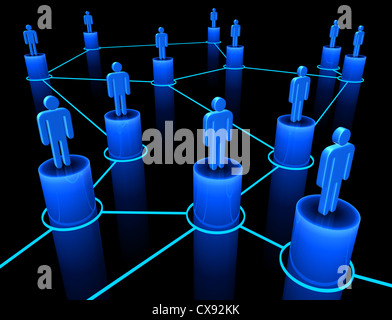 People interconnected on the concept of team, union and communication.