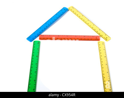 house made of colored rulers. - Stock Photo