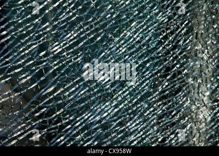 Broken pane of safety glass , Zerbrochenes Sicherheitsglas - Stock Photo