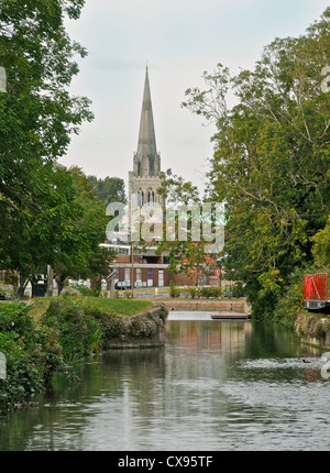 The view from the Chichester Ship Canal towards Chichester Cathedral in West Sussex - Stock Photo