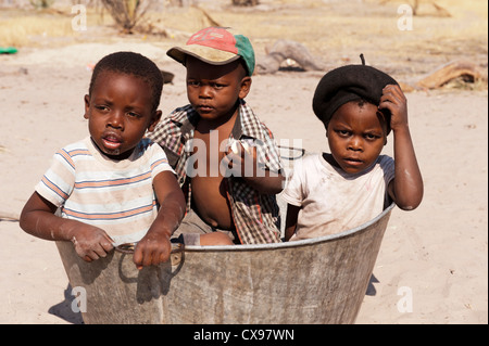 African children at play in a village in the Okovonga Delta of Botswana - Stock Photo