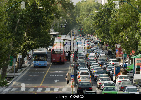 Traffic in Valiasr one way street, North of Tehran - Stock Photo