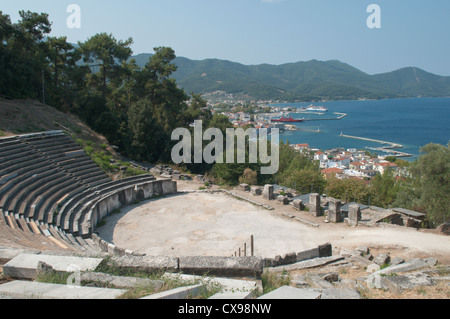 Thassos, Greece. Greek island. September. The ancient theatre above Limenas or Thassos Town - Stock Photo
