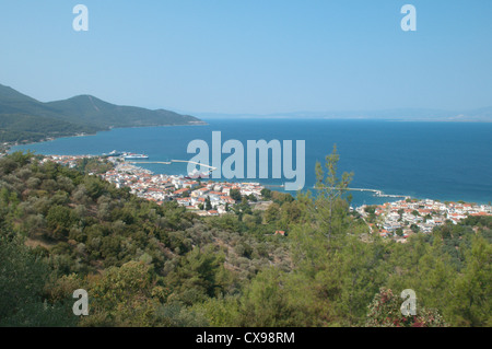Thassos Town seen from the ruins of the sanctuary of Athena Patroness or the Temple of the Goddess Athena Poliouchos. - Stock Photo