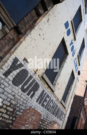 Graffiti on walls Liverpool City centre graphic artist political statement, Merseyside, UK - Stock Photo