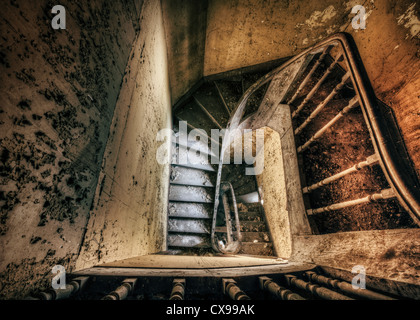 Staircase of spooky abandoned house - Stock Photo