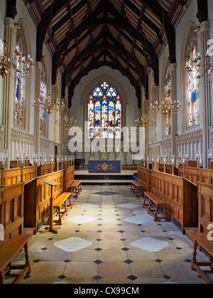 A portrait image showing the interior of the Chapel at Corpus Christi College in Cambridge with vaulted beamed ceiling - Stock Photo