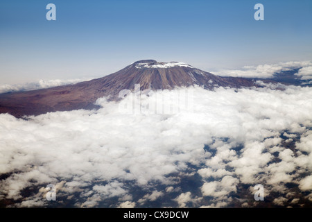 Mount Kilimanjaro, Tanzania Africa - aerial view seen from the BA flight from Dar es Salaam to Heathrow - Stock Photo