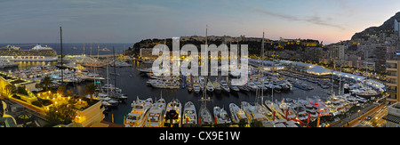 A magnificent high resolution panorama of Monaco Port Hercule duringt the 2012 Yacht Show - Stock Photo