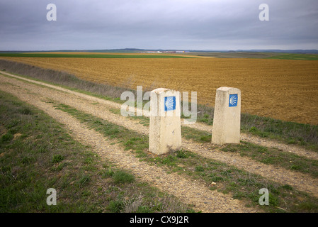 The route of the Camino to Santiago de Compostela near Sahagun in Spain. - Stock Photo