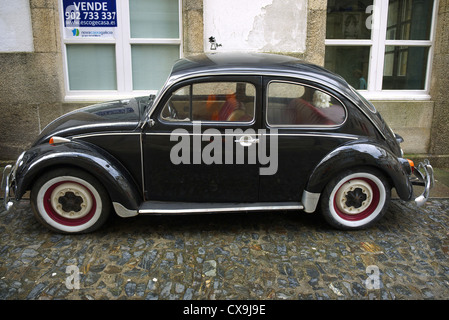 Black Volkswagen Beetle. Spain. - Stock Photo