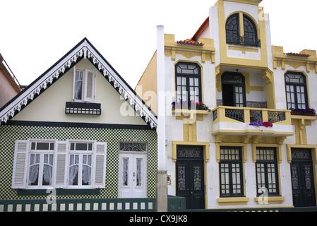 Decorative buildings in Costa Nova near Aveiro in Portugal. - Stock Photo