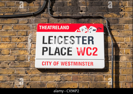 London West End Leicester Square Place Theatreland Theaterland street road sign brick wall - Stock Photo