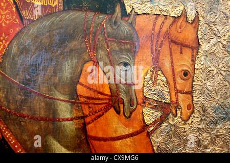 Horses heads, icon of Sts Boris and Gleb (14th century), icon in city museum, Veliky Novgorod, Novgorod region, - Stock Photo