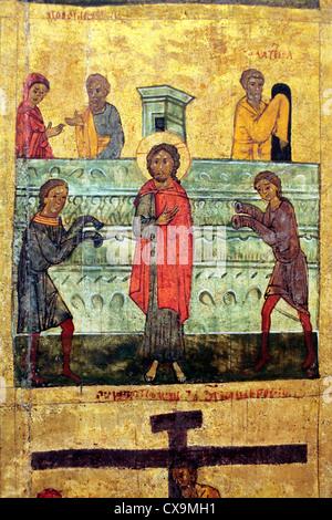 Gospel scene (14th century), icon in city museum, Veliky Novgorod, Novgorod region, Russia - Stock Photo