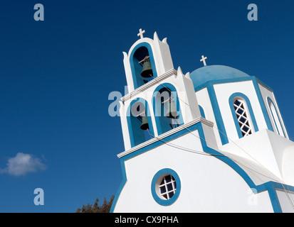 orthodox church, kamari, santorini, greece - Stock Photo