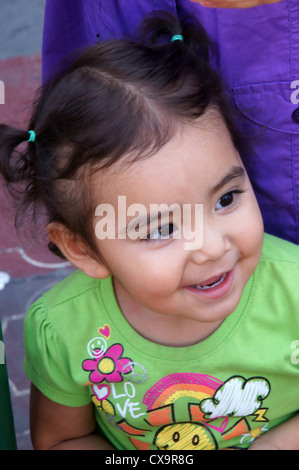 hispanic latino mexican girl smiling cuidad juarez mexico young female person adolescent schoolgirl she child - Stock Photo