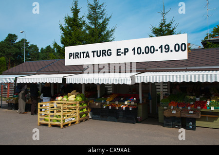 Market stalls selling fresh produce Pirita district Tallinn Estonia Europe - Stock Photo