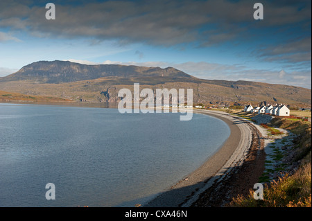 The long pebble beach of Ardmair Bay North of Ullapool with Ben More Coigach mountain Beyond.   SCO 8535 - Stock Photo