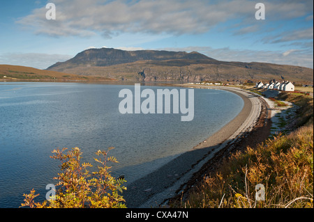 The long pebble beach of Ardmair Bay North of Ullapool with Ben More Coigach mountain Beyond.   SCO 8536 - Stock Photo