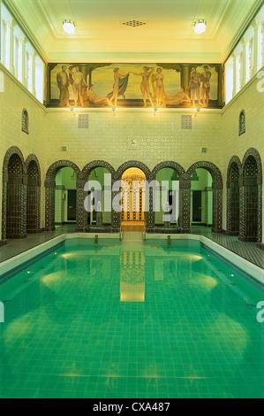 Interior view of the deserted roman-irish Emperor Friedrich Thermae, Wiesbaden, Germany, Europe - Stock Photo