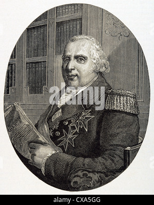 Louis XVIII (1755-1824). King of France from 1814-15 and 1815-24. Brother of Louis XVI. Engraving. - Stock Photo