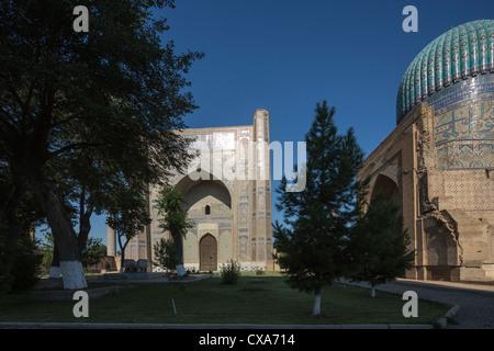 courtyard, Bibi Khanum mosque, Samarkand, Uzbekistan - Stock Photo