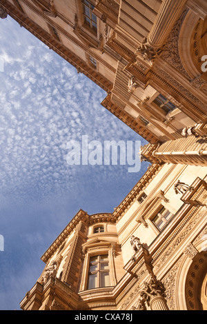 Looking up at the Louvre museum in Paris, France. - Stock Photo