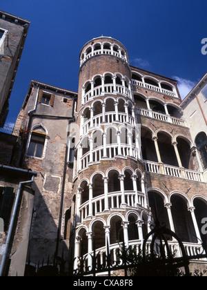 Scala Contarini del Bovolo 15th century spiral staircase on exterior of palace San Marco sestier Venice Veneto Italy - Stock Photo