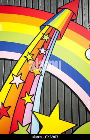 Firework rainbow and stars wall design - Stock Photo