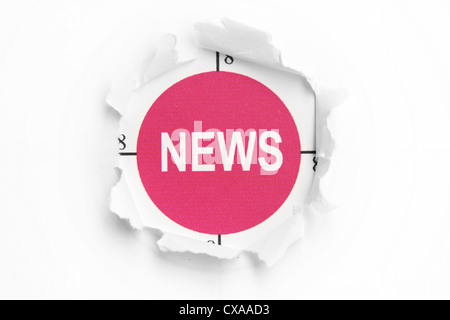 News text on paper hole - Stock Photo