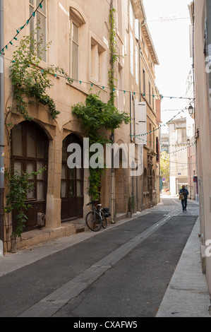 Typical traditional French street Southern France - Stock Photo