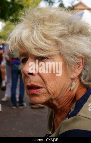 elderly senior citizen aged worried gray haired woman female lady portrait headshot head-shot head shot - Stock Photo
