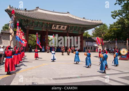 Changing of Royal Guards Ceremony at Deoksugung Palace, Seoul, Korea - Stock Photo