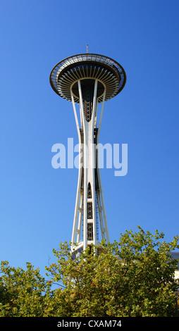 space needle tower in seattle washington wa major landmark pacific northwest region united states symbol - Stock Photo