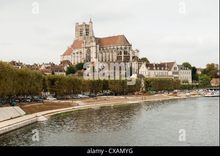 Saint-Pierre Church view Yonne River in foreground in Auxerre France. - Stock Photo