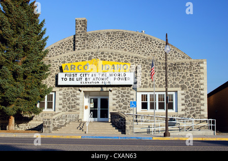 arco idaho id first city in world to be lit by atomic power sign building butte county united states big lost - Stock Photo