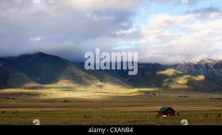 cabin in early morning sunlight colorado co highway 285 beautiful attractive admirable alluring appealing - Stock Photo