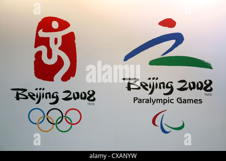 Symbol photo, logo of the Olympic Games and the 2008 Paralympics in Beijing - Stock Photo