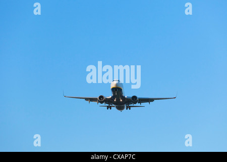 Ryanair Aircraft Boeing 737 on final approach, England - Stock Photo