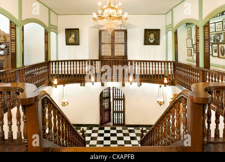 Staircase of the Pastor Heritage House dating from 1883, a classic Filipino style Bahay na bato in Batangas, Philippines - Stock Photo