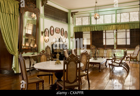 Main sala of the Pastor Heritage House dating from 1883, a classic Filipino style Bahay na bato in Batangas, Philippines - Stock Photo