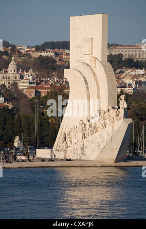 River Tagus and Monument to the Discoveries, Belem, Lisbon, Portugal, Europe - Stock Photo